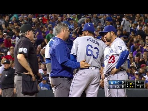LAD@COL: Garcia comes leaves game with injury