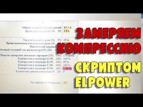 Замер компрессии скриптом ElPower Андрея Шульгина, Renault Duster I 1.5d, K9K