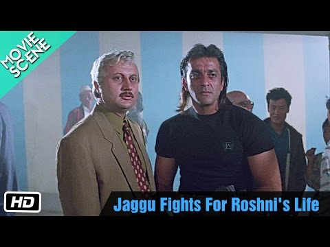 Jaggu Fights For Roshni's Life - Movie Scene - Anupam Kher, Sanjay Dutt