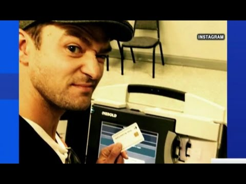Justin Timberlake Illegal Voting Booth Selfie