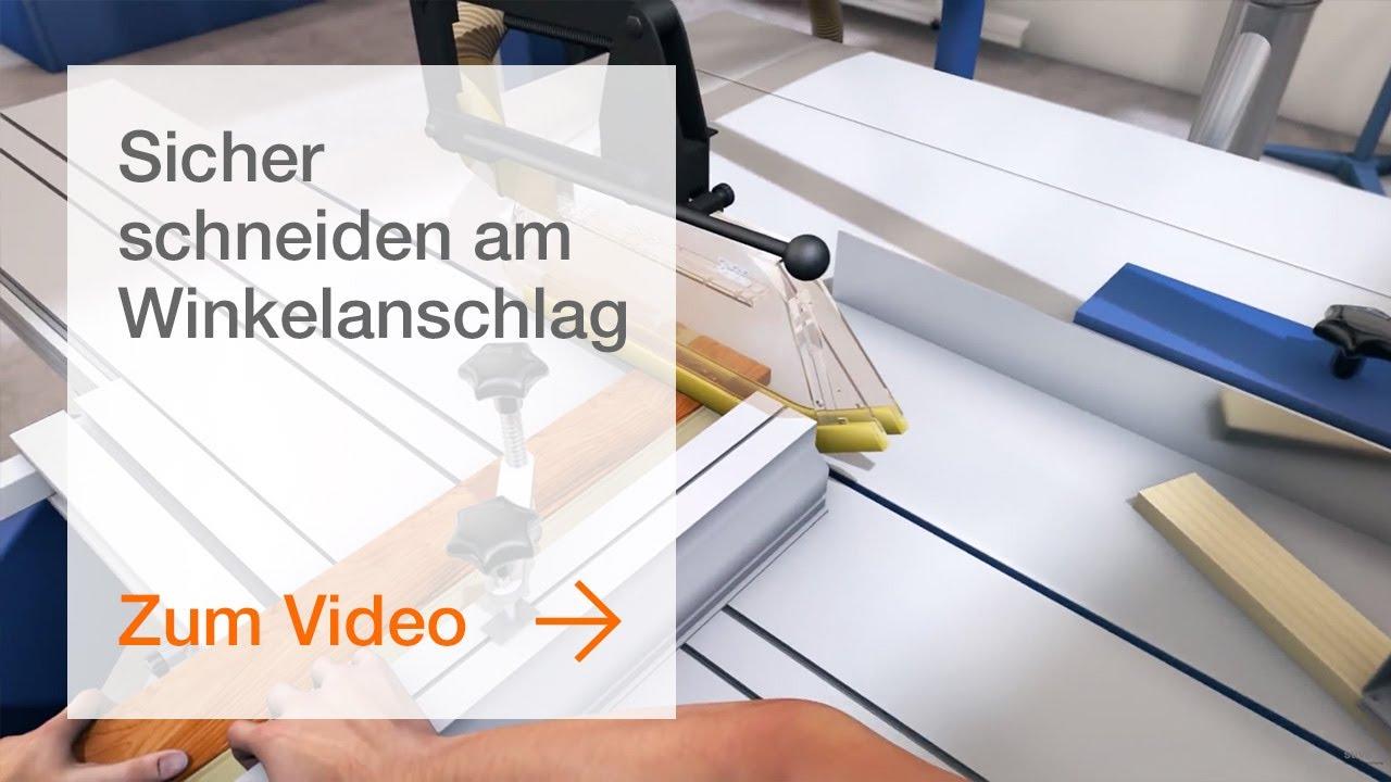 tischkreissäge: sicher schneiden am winkelanschlag - youtube