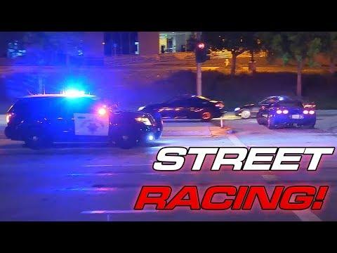 13min Of Illegal Street Racing + Cops!