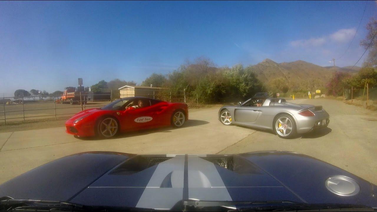 Porsche Carrera Gt Vs Ford Gt Vs Ferrari  Gtb Riding Malibu Canyon Roads