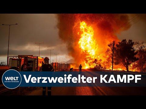 GNADENLOSE FEUERSBRUNST: Gigantische Brände bedrohen Athen - Türkische Touristenregionen in Flammen