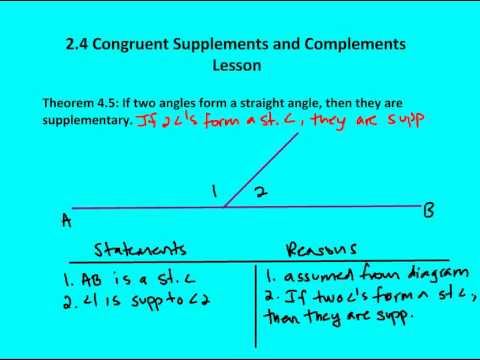 2 4 Congruent Supplements And Complements Lesson