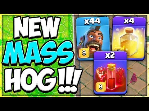 NEW TH 12 MASS Hogs 3 Star Attack Strategy In Clash Of Clans