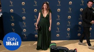 Amanda Peet in a low cut green gown at the 2018 Emmy Awards thumbnail