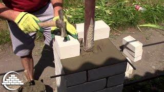 Кирпичная кладка колонны из полуторного, силикатного кирпича - [masterkladki](Скачайте БЕСПЛАТНО Мини-курс по кирпичной кладке: http://masterkladki.ru/mini_kurs Канал