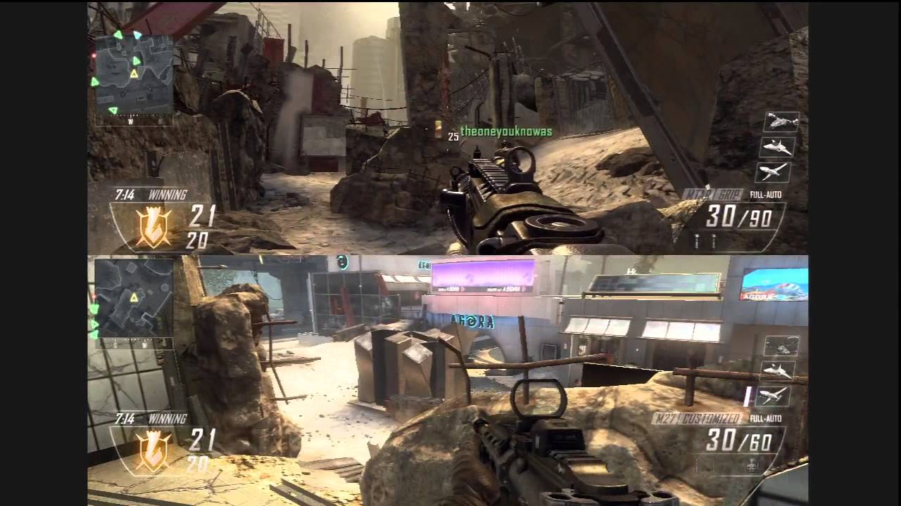 Call of Duty Black Ops 2 - Split Screen Team Deathmatch on Aftermath Online  Multiplayer