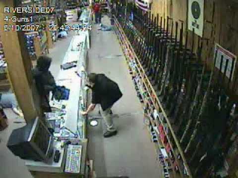 Make It Happen >> Riversde Turner's Outdoorsman grun store robbery - YouTube