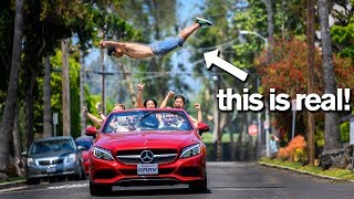 Leaping Over a MOVING CAR Extreme Gymnastic Dares *don't try this*