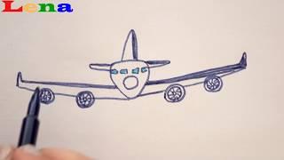 Flugzeug zeichnen ✈ Wolken malen ☁️ How to draw a plane front view - как нарисовать самолет