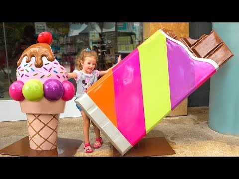 Funny Playtime with Giant candy, Baby Shark and toys in the theme park for family and Kids