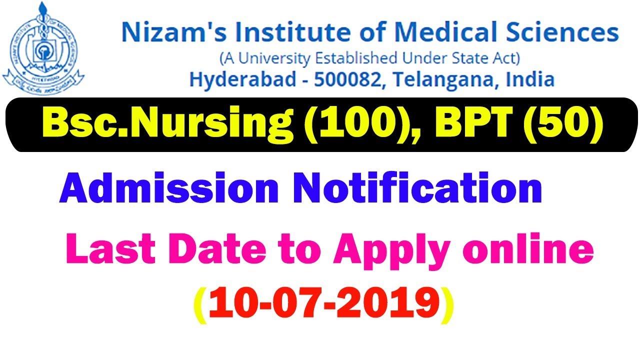 NIMS Bsc Nursing BPT Admission Notification | NIMS BPT BSC Nursing Online  Application