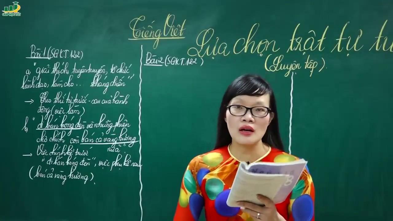 Ngữ Văn Lớp 8 – Bài giảng Lựa chọn trật tự từ trong câu luyện tập ngữ văn 8Tiếng Việt| Cô Lê Hạnh