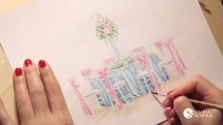 Курс эскиза для свадебных флористов и декораторов (эскиз свадьбы).