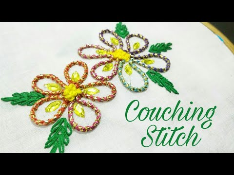 Couching Stitch Hand Embroidery Work Youtube