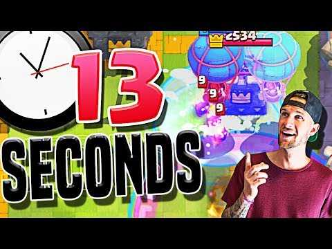 Record FASTEST win EVER!! 13 Second Clash Royale Victory!!!