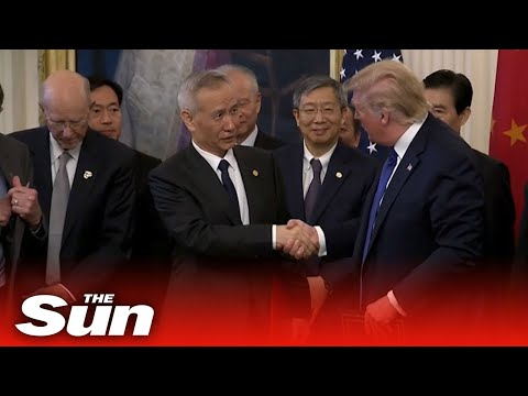 President Donald Trump signs 'phase one' of historic US China trade deal
