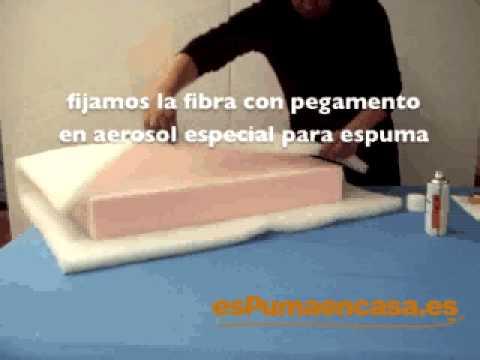Envolver con fibra un almohad n de sof o tresillo youtube for Hacer cojines para sillas
