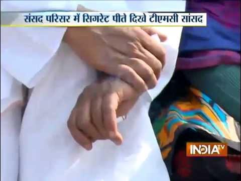 Trinamool Congress MP Sougata Roy Smoking In Side Parliament Campus - India TV
