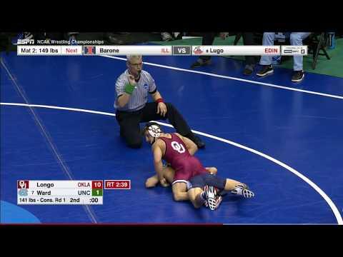 2017 NCAA Wrestling 141lbs: Mike Longo (Oklahoma) vs Joey Ward (UNC)