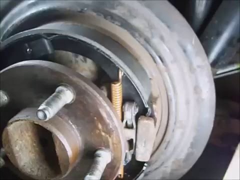 Jeep Liberty `11 pt.2  rear caliper install, Ebrake shoes remov replace, rear brake pad instal