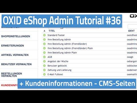 Oxid eShop Admin Tutorial #36 - Kundeninformationen - CMS Seiten
