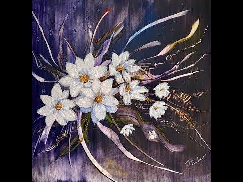 Абстрактные ромашки. Букет Невесты.Акрил. Daisies In Abstract Painting.