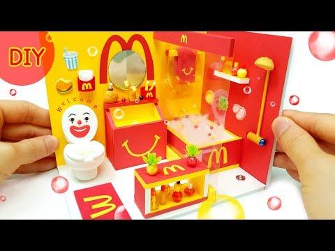 DIY Miniature Dollhouse  - McDonald's Bathroom decor !!