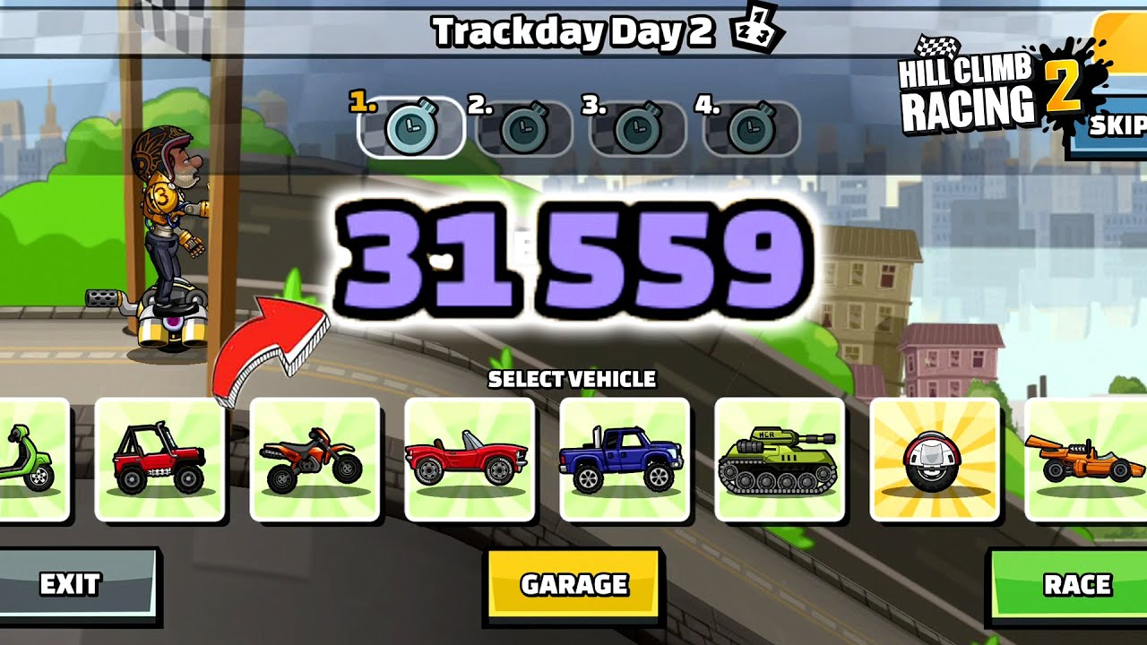 Hill Climb Racing 2 - 31559 points in Trackday Day 2 Gameplay