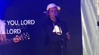 Justin Bieber singing Christian worship songs at Coachella Church Home event - April 15, 2018