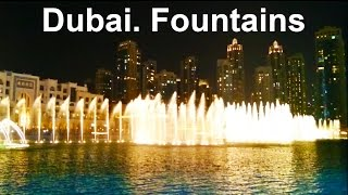 Dubai. Burj Khalifa Fountain Show at Night 2015