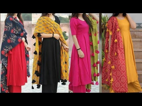 27dec65f2c Plain cotton daily wear simple salwar suit with tassel work dupatta/tassel  work dupatta design ideas - YouTube