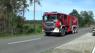 Alarmowo Straż Pożarna i Policja do pożaru lasu koło jeziora Płotki pod Piłą
