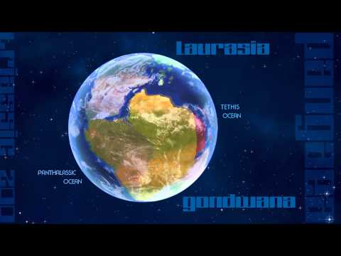 Pangaea 200 million years ago at the end of the Triassic