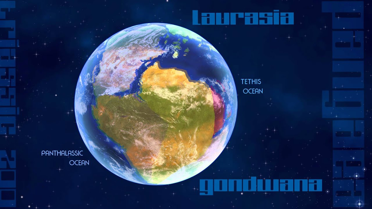 Pangaea 200 million years ago at the end of the Triassic - YouTube