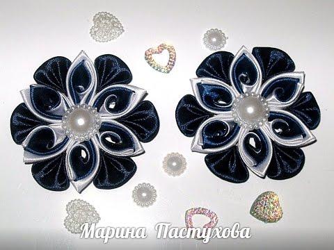 Заколка Волна канзаши из атласных лент с бусинами. Hairpin sea Kanzash from satin ribbon with beads