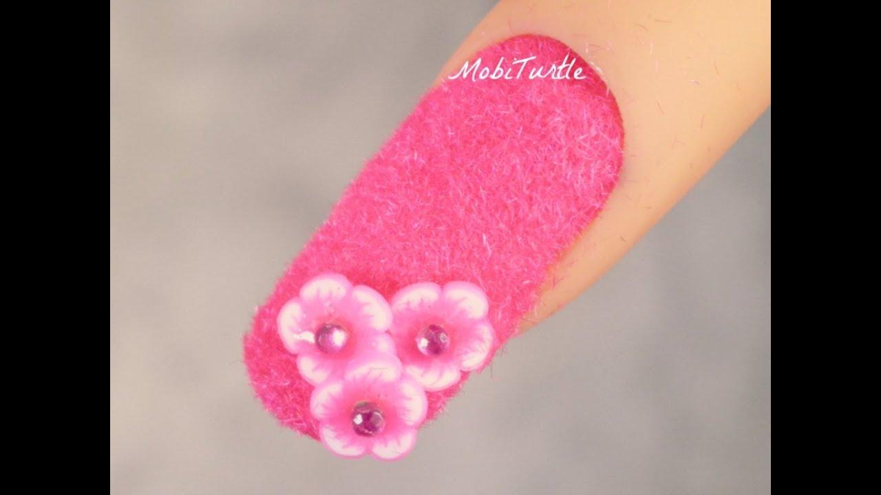 Pink Fluffy Velvet Flocking Powder Dust With Flowers For Prom 3d