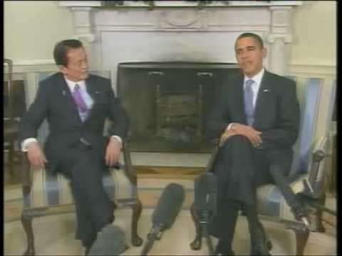 Japanese PM, Taro Aso meets with President Obama at the White House