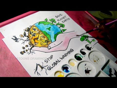 How to Draw Stop Global Warming and Save Planet Earth Drawing for Kids