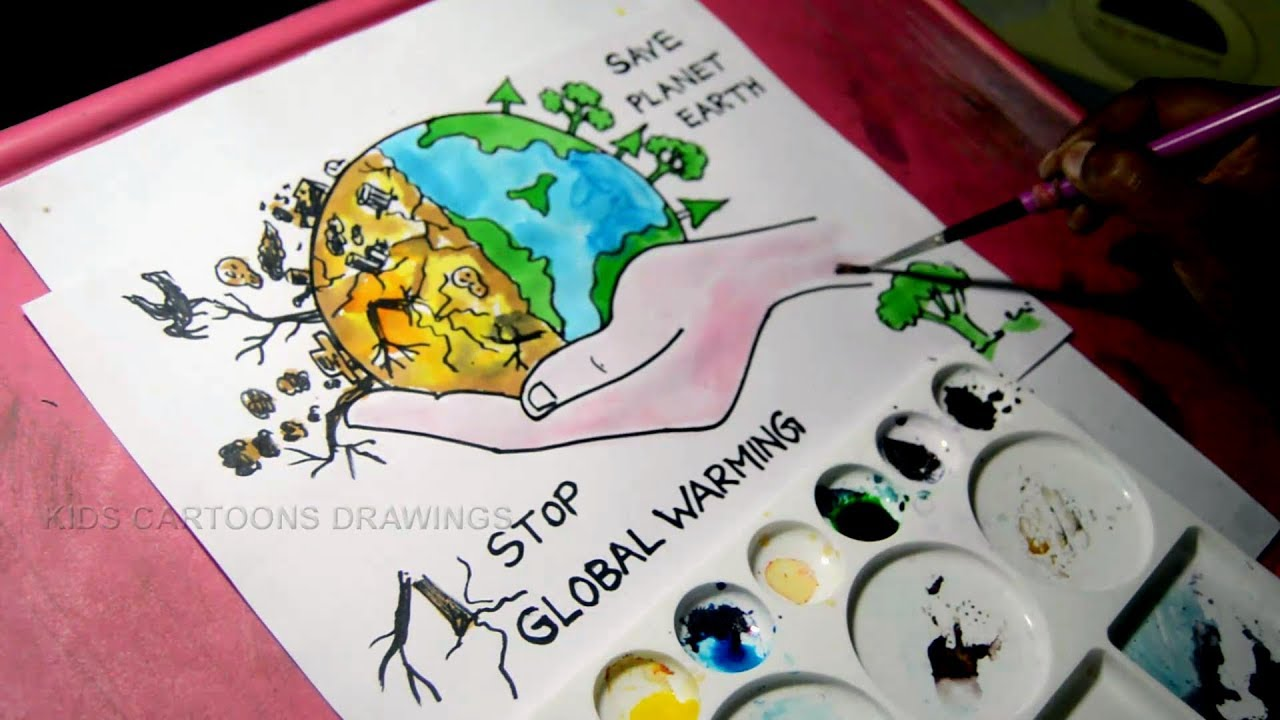 How To Draw Stop Global Warming And Save Planet Earth