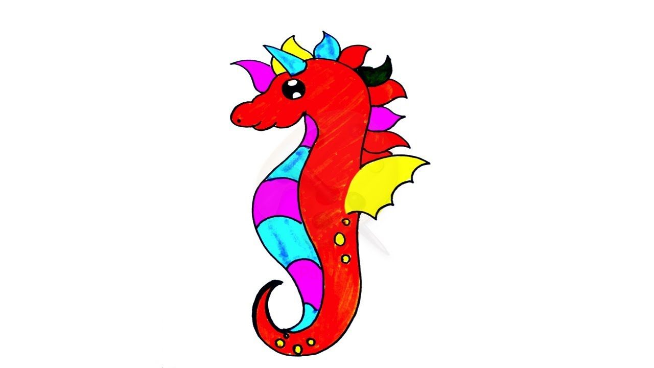 How To Draw Seahorse Coloring Pages Seahorse Coloring Draw Cute Sea Horse Youtube