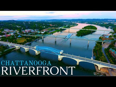The Chattanooga Riverfront at Sunset (drone footage)