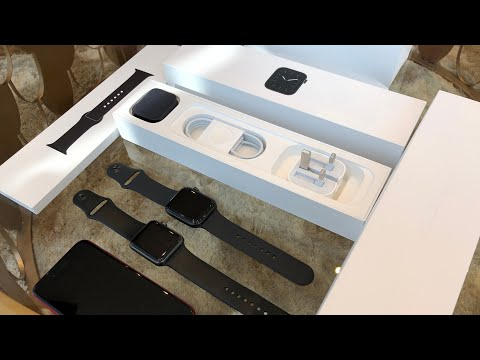 4K Unboxing Apple Watch Series 5 Space Gray Aluminum Case Sport Band 44mm