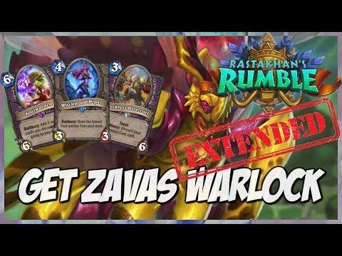 Get Zavas Warlock | Extended Gameplay | Hearthstone | Rastakhan's Rumble
