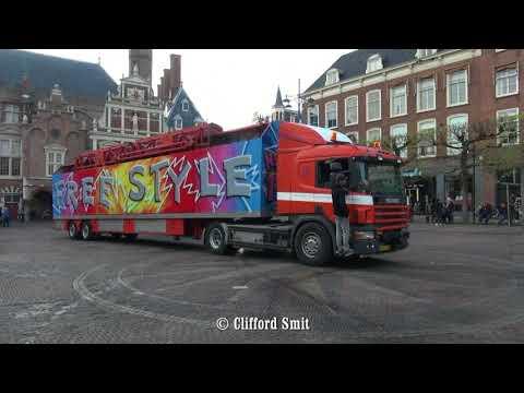 Kermis Haarlem 2018 Transport en opbouw Grote Markt Deel 1