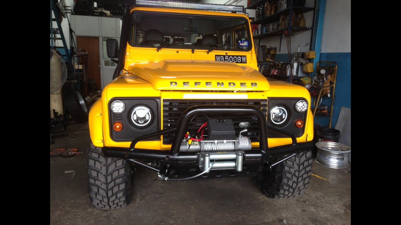 Yellow Land Rover Defender - YouTube