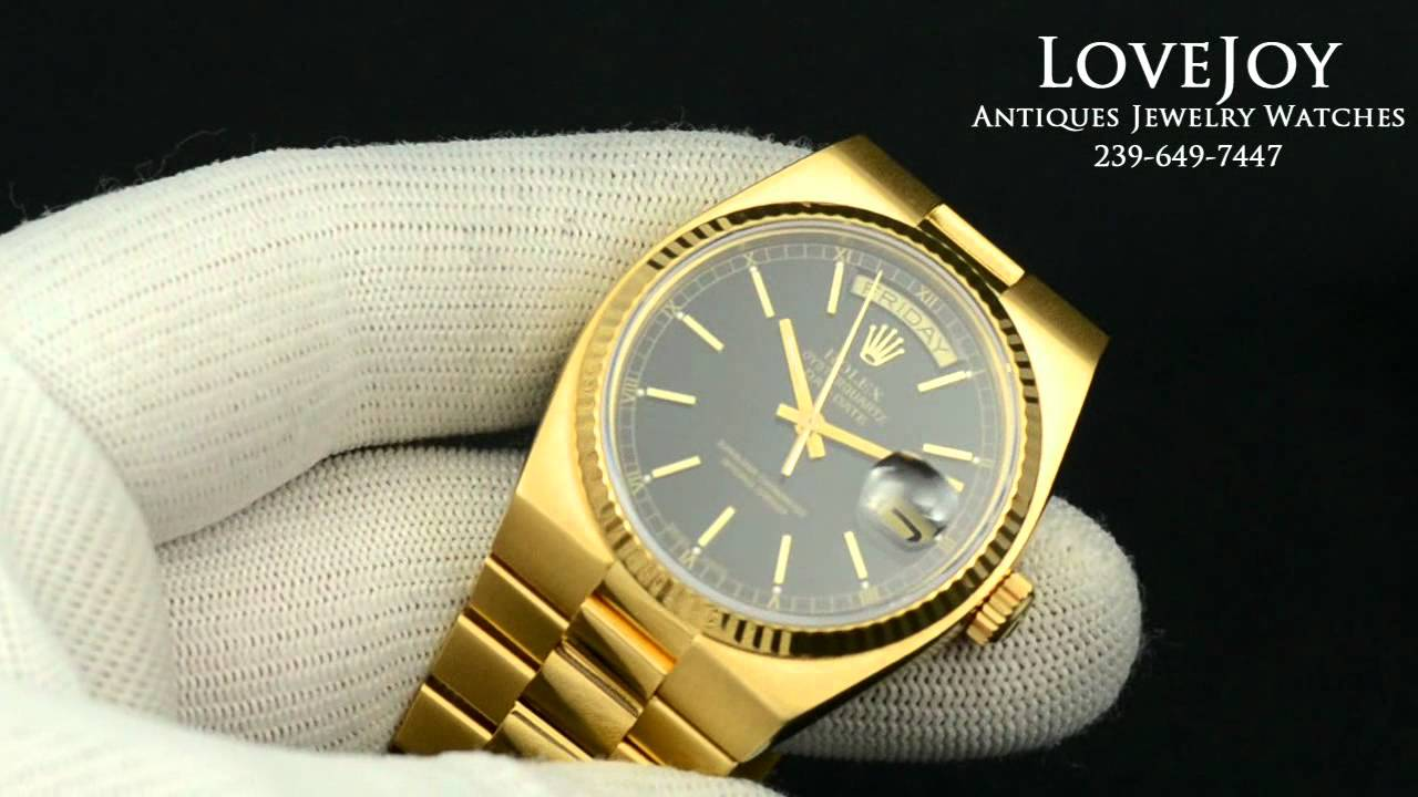 rolex men 18k gold president daydate quartz black dial authentic rolex men 18k gold president daydate quartz black dial authentic