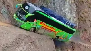Crazy Bus VS Dangerous Roads | Bus Nearly Falls off Cliff,  Crossing Extremely Muddy & Steep Hill